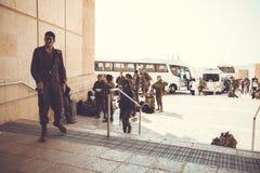 马萨达,以色列- 2019年3月22日:战士的独立小分队在旅行到达了给马萨达 库存照片