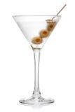 马蒂尼鸡尾酒用橄榄。 库存图片