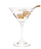马蒂尼鸡尾酒用青斑chesse橄榄 库存图片