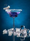 马蒂尼鸡尾酒饮料在与冰块的玻璃桌上服务 免版税库存照片