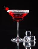 马蒂尼鸡尾酒饮料在与冰块的玻璃桌上服务 免版税库存图片