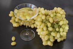马蒂尼鸡尾酒玻璃和葡萄。 库存照片