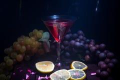 马蒂尼鸡尾酒玻璃用在黑暗的背景的柠檬 免版税库存照片