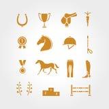 马设备象集合金子变薄线 库存照片