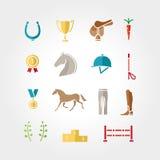 马设备象集合颜色 免版税库存图片