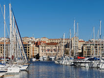 马赛、市政厅和港口,法国 图库摄影