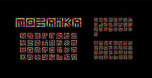 马赛克乌克兰人,英国和俄语字母 迷宫印刷术设计 创造性的艺术样式传染媒介拉丁字母从 皇族释放例证