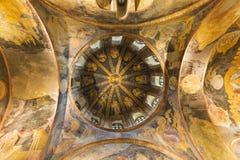 马赛克和frsescos在Chora教会的圆顶在伊斯坦布尔,土耳其 免版税图库摄影