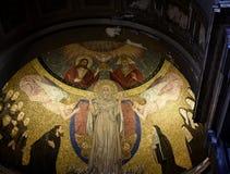 马赛克在一个小教会,圣诞老人Prassede里,在罗马意大利 库存照片