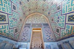 马赛克在乌鲁伯格Madrasah在撒马而罕,乌兹别克斯坦 库存图片