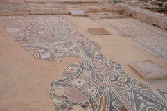 马赛克在废墟圣Bachhus教会里,以色列 免版税库存照片