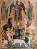 马赛克在Neredica,诺夫哥罗德,俄罗斯的救主教会里  免版税库存图片