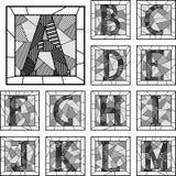 马赛克大写字母字母表被仿造的线。 免版税图库摄影