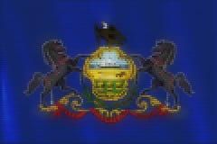 马赛克心脏宾夕法尼亚旗子瓦片绘画  皇族释放例证