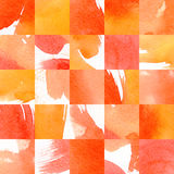 马赛克手拉的水彩样式 briht秋天颜色 红色,橙色,黄色 免版税库存图片