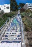 马赛克楼梯在旧金山,加利福尼亚 免版税库存照片