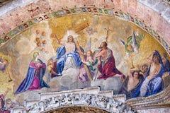 马赛克的现实颜色在圣徒的指示大教堂-基督-威尼斯-意大利的上生 免版税库存照片