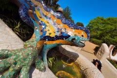 马赛克蝾-公园Guell -巴塞罗那 免版税图库摄影