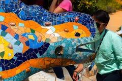 马赛克蝾-公园Guell -巴塞罗那 库存照片