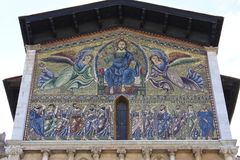 马赛克,圣Frediano,卢卡,意大利大教堂  免版税库存照片