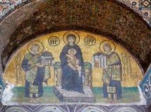 马赛克:有孩子的维尔京由查士丁尼一世和Constan侧了 免版税库存图片