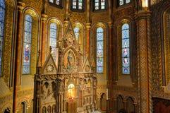 马赛厄斯教会内部-布达佩斯,匈牙利 库存照片