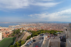 马赛市和其港口法国一张鸟瞰图  库存图片