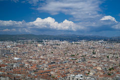 马赛市空中全景  图库摄影