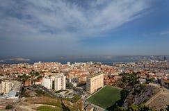 马赛市鸟瞰图  免版税图库摄影