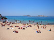 马赛海滩在夏天 免版税库存照片