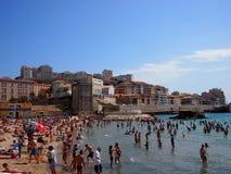 马赛海滩在夏天 库存图片