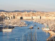 马赛,法国老Vieux港,日落的 免版税库存照片