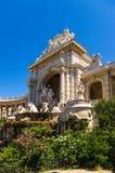 马赛 宫殿的门面的中央部分有雕象和Longchamp落下的喷泉的, 1869 免版税库存照片