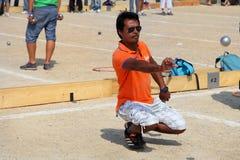 马赛 法国- 8月20 2012年 Petanque竞争 库存照片