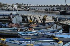 马赫迪耶捕鱼港口  免版税图库摄影