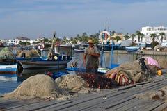从马赫迪耶-突尼斯的一位渔夫 图库摄影