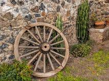 马车车轮和仙人掌 库存照片