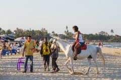 马达加斯加人的秀丽,美丽的女孩乘驾马 库存照片