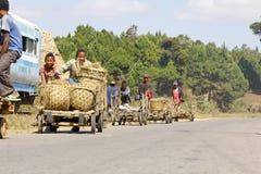 马达加斯加男孩运载一个传统caresa支架 库存照片