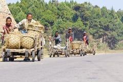 马达加斯加男孩运载一个传统caresa支架 免版税库存照片