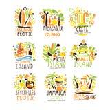 马达加斯加,克利特,巴厘岛,塞舌尔群岛,伊维萨岛,牙买加标签设计的手段集合 夏天海滩旅游业和休息传染媒介 向量例证