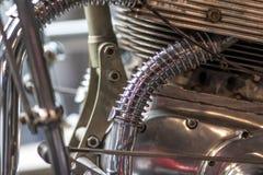 马达引擎镀铬物管道工程管组 机械工程摘要ba 免版税库存照片