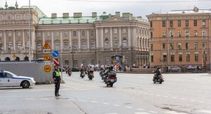 Motor parade in the historic center