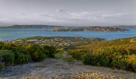 马达莱纳半岛群岛的看法从帕劳奥尔比亚,撒丁岛, I的 免版税库存图片