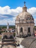马那瓜老大教堂在尼加拉瓜10月 免版税图库摄影