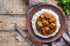 马都拉斯黄油牛肉辣印地安garam masala慢厨师羊羔食物用米和蕃茄 库存照片
