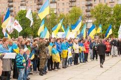 马里乌波尔,乌克兰-, 03 2015年 Shirokino的废除军备的公众大会 免版税库存照片