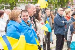 马里乌波尔,乌克兰-, 03 2015年 Shirokino的废除军备的公众大会 图库摄影