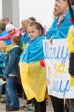 马里乌波尔,乌克兰-, 03 2015年 Shirokino的废除军备的公众大会 免版税库存图片