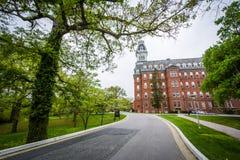马里兰大学Notre Dame的吉本斯霍尔,在巴尔的摩, 免版税库存照片